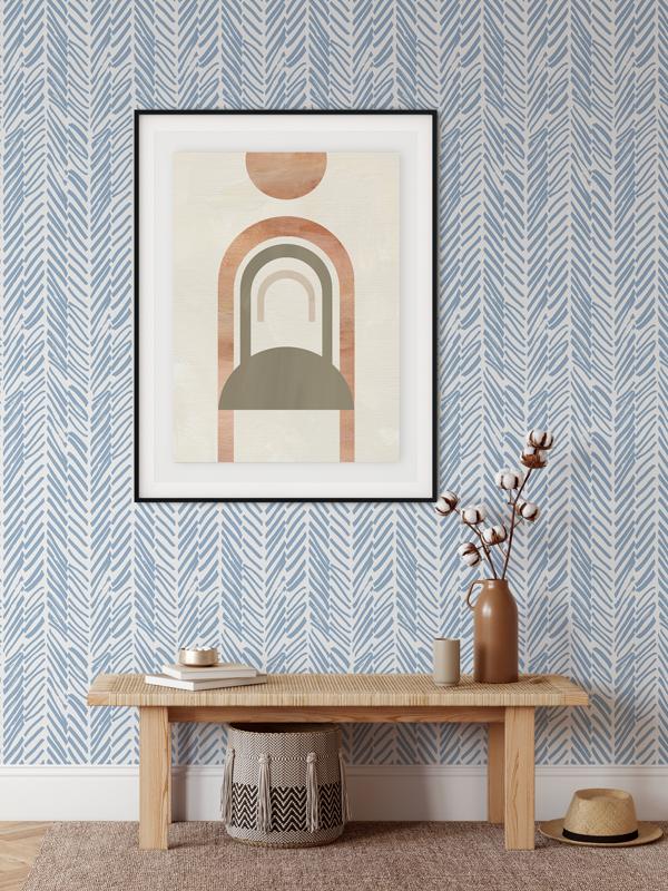 Hello Sticky - Shop - Peel &Amp;Amp; Stick Removable Wallpaper - Stripe, Spot &Amp;Amp; Dot Wallpaper - Blue Herringbone - Main View