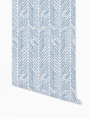 Hello Sticky - Shop - Peel &Amp; Stick Removable Wallpaper - Stripe, Spot &Amp; Dot Wallpaper - Blue Herringbone - Roll 1 View