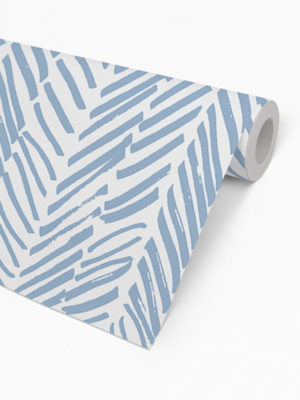 Hello Sticky - Shop - Peel &Amp; Stick Removable Wallpaper - Stripe, Spot &Amp; Dot Wallpaper - Blue Herringbone - Roll 2 View