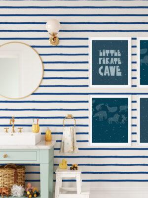 Hello Sticky - Shop - Peel & Stick Removable Wallpaper - Stripe, Spot & Dot Wallpaper - Blue Stripes - Main View