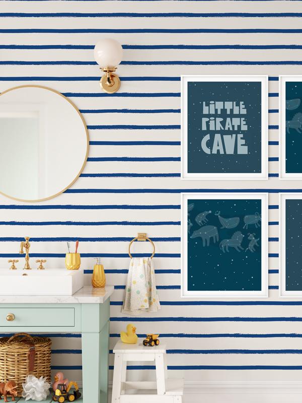 Hello Sticky - Shop - Peel &Amp;Amp; Stick Removable Wallpaper - Stripe, Spot &Amp;Amp; Dot Wallpaper - Blue Stripes - Main View