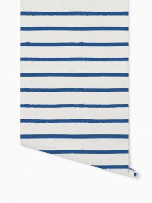 Hello Sticky - Shop - Peel &Amp; Stick Removable Wallpaper - Stripe, Spot &Amp; Dot Wallpaper - Blue Stripes - Roll 1 View