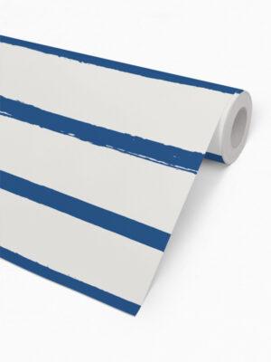 Hello Sticky - Shop - Peel &Amp; Stick Removable Wallpaper - Stripe, Spot &Amp; Dot Wallpaper - Blue Stripes - Roll 2 View
