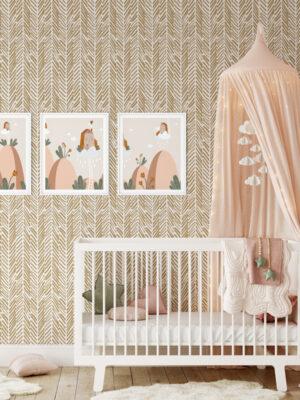 Hello Sticky - Shop - Peel & Stick Removable Wallpaper - Stripe, Spot & Dot Wallpaper - Gold Herringbone - Main View