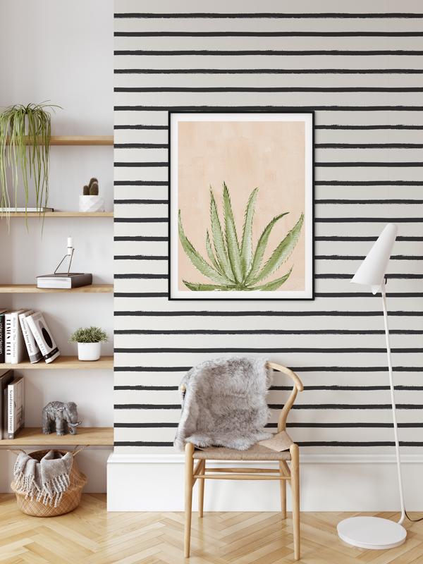 Hello Sticky - Shop - Peel &Amp;Amp; Stick Removable Wallpaper - Stripe, Spot &Amp;Amp; Dot Wallpaper - Imperfect Stripes - Main View