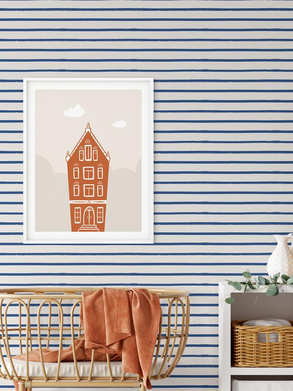 Hello Sticky - Shop - Peel &Amp;Amp; Stick Removable Wallpaper - Stripe, Spot &Amp;Amp; Dot Wallpaper - Nautical Stripes - Main View