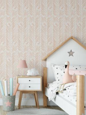 Hello Sticky - Shop - Peel & Stick Removable Wallpaper - Stripe, Spot & Dot Wallpaper - Peach Herringbone - Main View