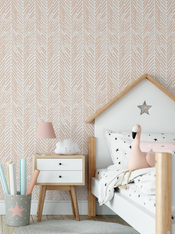 Hello Sticky - Shop - Peel &Amp;Amp; Stick Removable Wallpaper - Stripe, Spot &Amp;Amp; Dot Wallpaper - Peach Herringbone - Main View