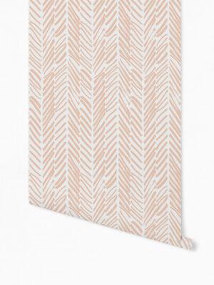 Hello Sticky - Shop - Peel &Amp; Stick Removable Wallpaper - Stripe, Spot &Amp; Dot Wallpaper - Peach Herringbone - Roll 1 View