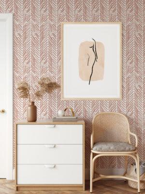 Hello Sticky - Shop - Peel & Stick Removable Wallpaper - Stripe, Spot & Dot Wallpaper - Pink Terracotta Herringbone - Main View