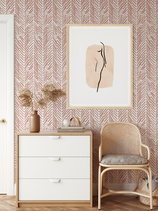 Hello Sticky - Shop - Peel &Amp;Amp; Stick Removable Wallpaper - Stripe, Spot &Amp;Amp; Dot Wallpaper - Pink Terracotta Herringbone - Main View