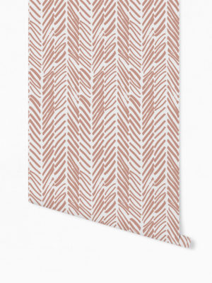 Hello Sticky - Shop - Peel &Amp; Stick Removable Wallpaper - Stripe, Spot &Amp; Dot Wallpaper - Pink Terracotta Herringbone - Roll 1 View
