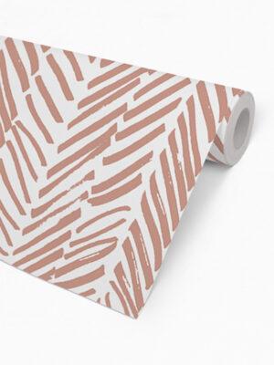 Hello Sticky - Shop - Peel &Amp; Stick Removable Wallpaper - Stripe, Spot &Amp; Dot Wallpaper - Pink Terracotta Herringbone - Roll 2 View