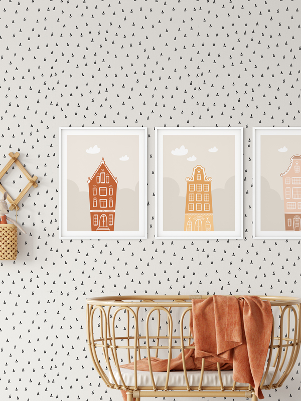 Hello Sticky - Shop - Peel &Amp;Amp; Stick Removable Wallpaper - Stripe, Spot &Amp;Amp; Dot Wallpaper - Tiny Triangles - Main View