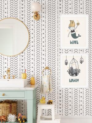 Hello Sticky - Shop - Peel & Stick Removable Wallpaper - Stripe, Spot & Dot Wallpaper - X's & O's - Main View
