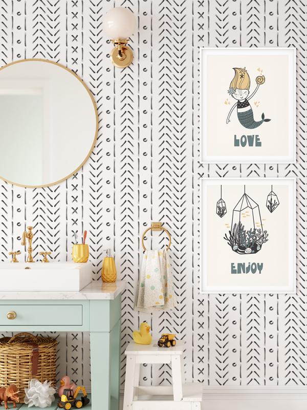 Hello Sticky - Shop - Peel &Amp;Amp; Stick Removable Wallpaper - Stripe, Spot &Amp;Amp; Dot Wallpaper - X'S &Amp;Amp; O'S - Main View