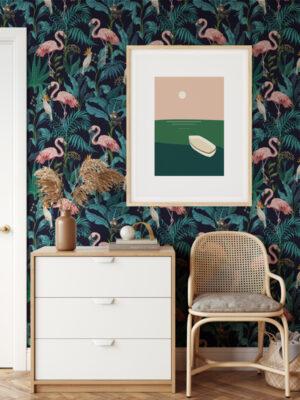 Hello Sticky - Shop - Peel & Stick Removable Wallpaper - Urban Jungle Wallpaper - Fierce Flamingo - Main View