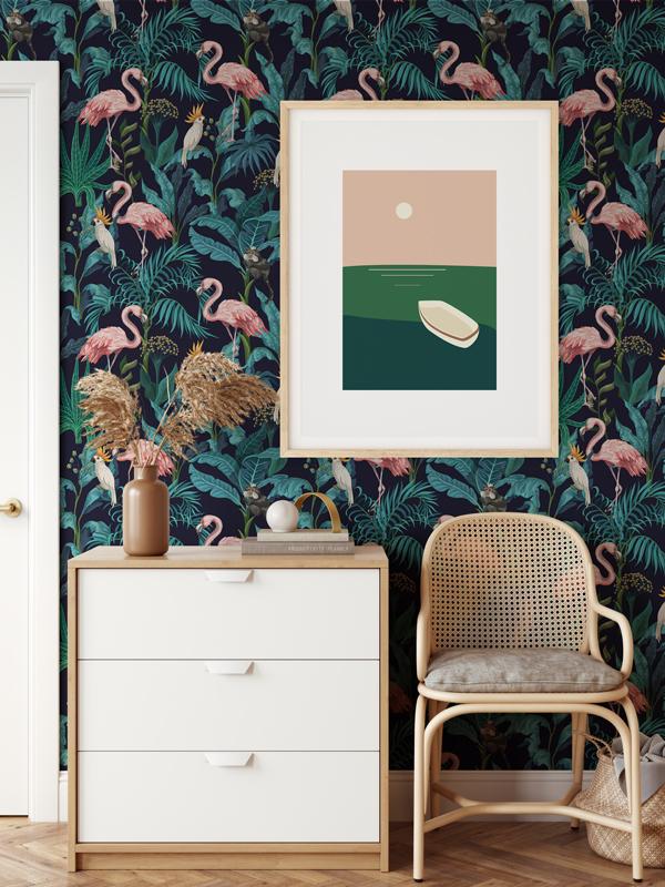 Hello Sticky - Shop - Peel &Amp;Amp; Stick Removable Wallpaper - Urban Jungle Wallpaper - Fierce Flamingo - Main View
