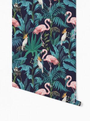 Hello Sticky - Shop - Peel &Amp; Stick Removable Wallpaper - Urban Jungle Wallpaper - Fierce Flamingo - Roll 1 View