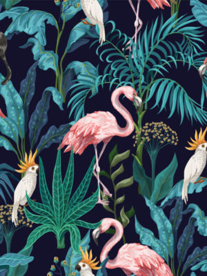 Hello Sticky - Shop - Peel &Amp; Stick Removable Wallpaper - Urban Jungle Wallpaper - Fierce Flamingo - Zoomed In View