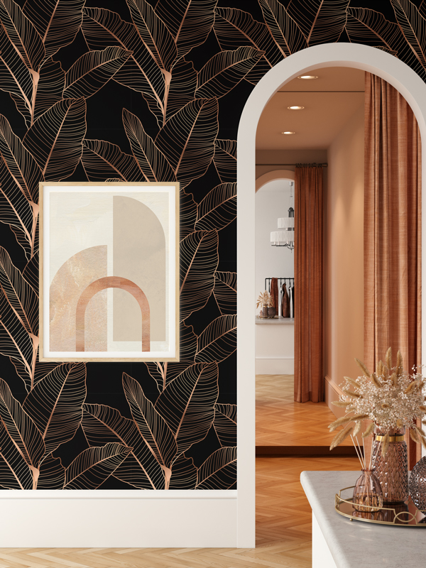 Hello Sticky - Shop - Peel &Amp;Amp; Stick Removable Wallpaper - Urban Jungle Wallpaper - Gold Palm - Main View